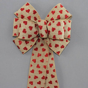 Red Glitter Hearts Rustic Valentine's Day Bow - Package Perfect Bows