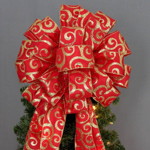 Red Gold Glitter Swirl Christmas Tree Topper Bow - Package Perfect Bows