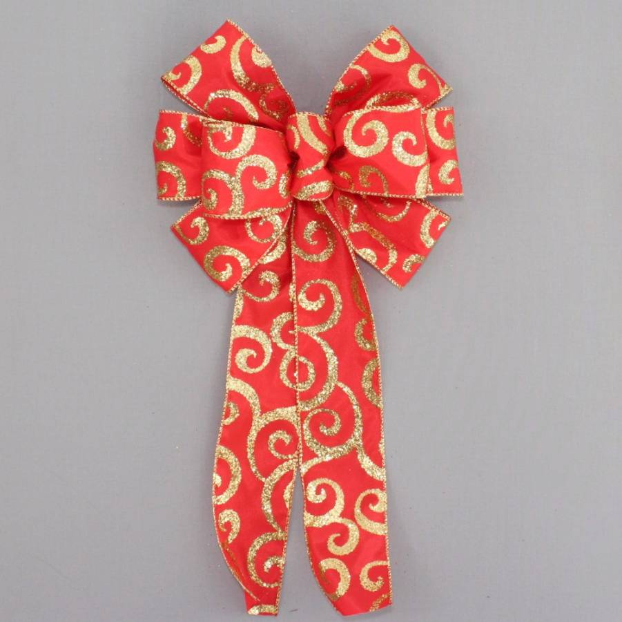 Red Gold Sparkle Swirl Wreath Bow