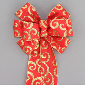Red Gold Sparkle Swirl Wreath Bow - Package Perfect Bows