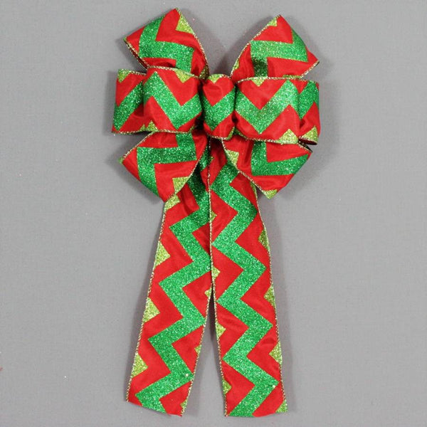 Red Green Glitter Chevron Christmas Bow - Package Perfect Bows - 1