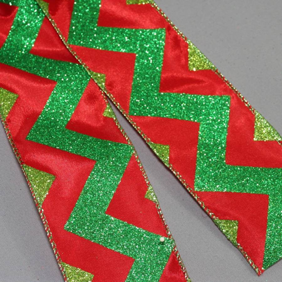 Red Green Glitter Chevron Christmas Bow - Package Perfect Bows - 3