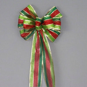 Holiday Metallic Stripe Christmas Bow - Package Perfect Bows - 2