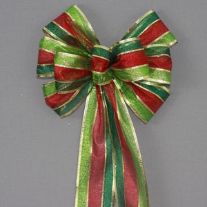 Holiday Metallic Stripe Christmas Bow - Package Perfect Bows - 1