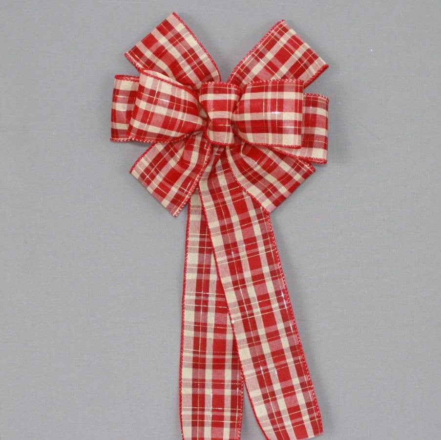 Red Burgundy Ivory Plaid Christmas Bow - Package Perfect Bows - 2