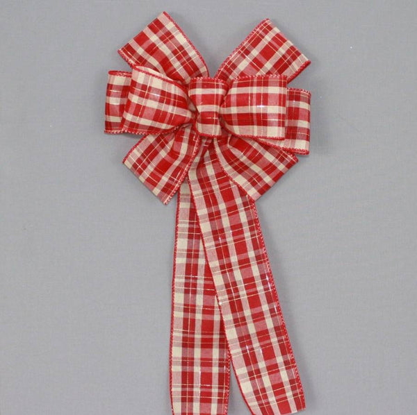 Red Burgundy Ivory Plaid Christmas Bow - Package Perfect Bows - 1