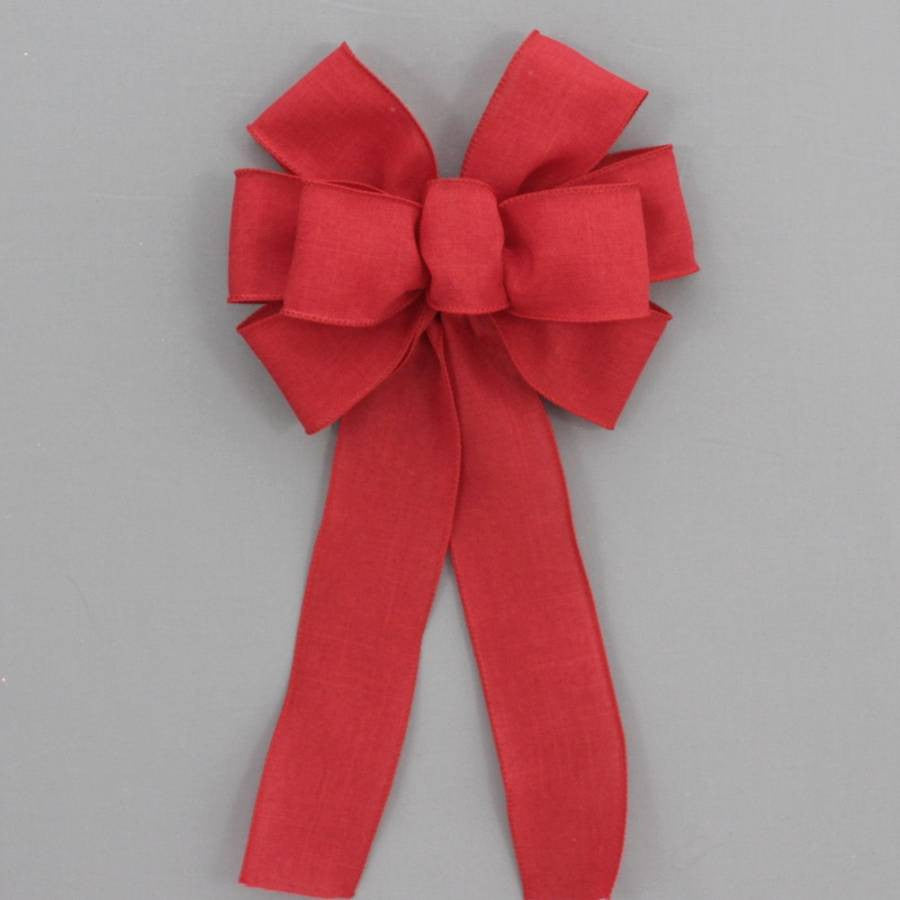 Red Rustic Linen Wreath Bow - Package Perfect Bows - 2