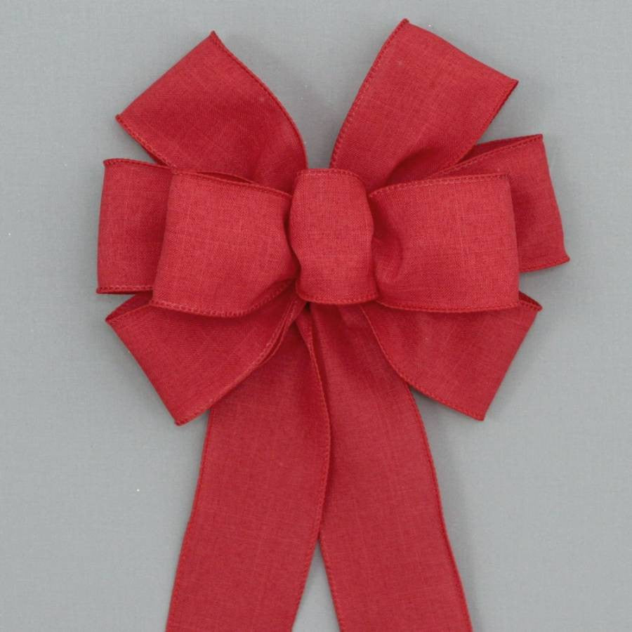 Red Rustic Linen Wreath Bow - Package Perfect Bows - 1