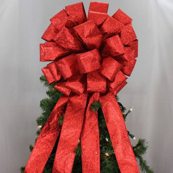 Red Sparkle Lame Christmas Tree Topper Bow