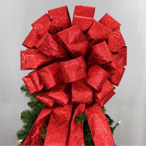 Red Sparkle Lame Christmas Tree Topper Bow - Package Perfect Bows