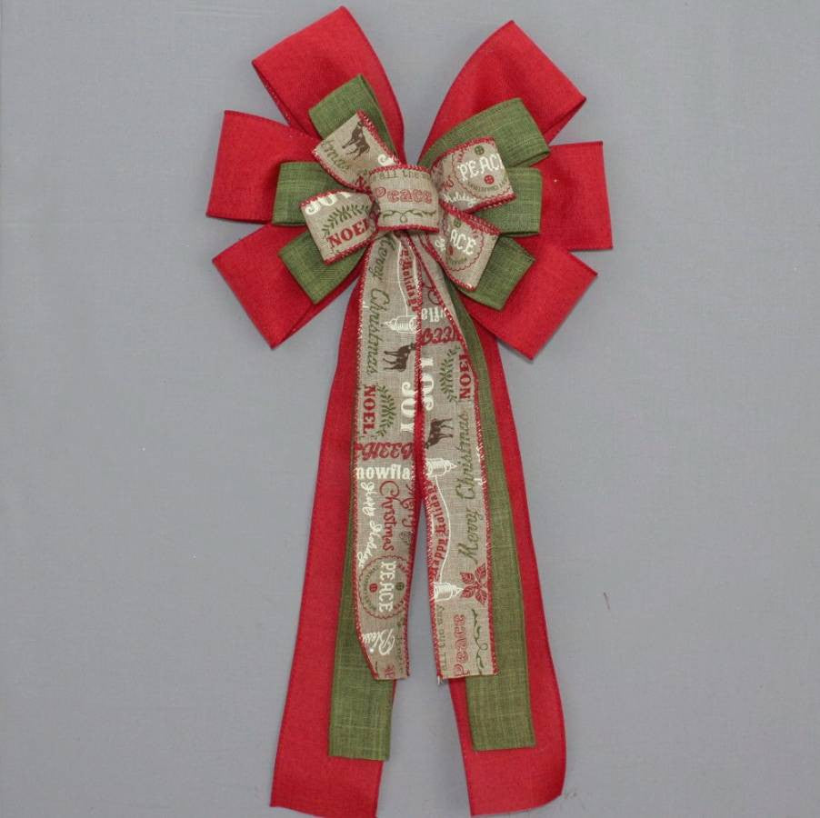 Red Rustic Holiday Script Christmas Bow - Package Perfect Bows - 2