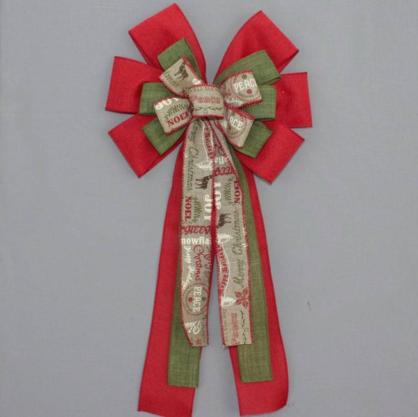 Red Rustic Holiday Script Christmas Bow - Package Perfect Bows - 1