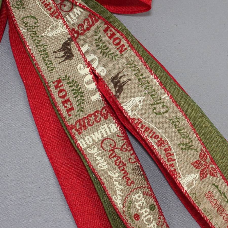 Red Rustic Holiday Script Christmas Bow - Package Perfect Bows - 3