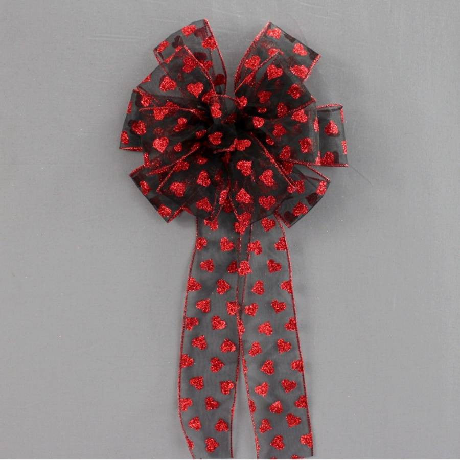 Red Black Sparkle Hearts Valentine's Day Bow - Package Perfect Bows
