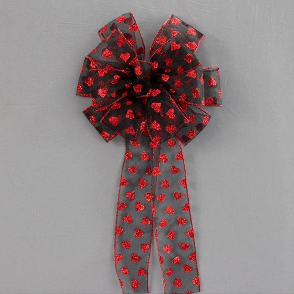Red Black Sparkle Hearts Valentine's Day Bow