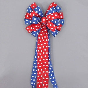 Red Royal Polka Dot Patriotic Wreath Bow - Package Perfect Bows - 2