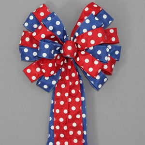 Red Royal Polka Dot Patriotic Wreath Bow - Package Perfect Bows - 1