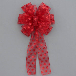 Red Sparkle Hearts Valentine's Day Bow - Package Perfect Bows