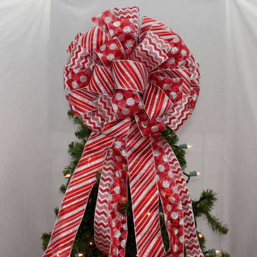 Red Silver Chevron Dot Stripe Tree Topper Bow - Package Perfect Bows - 1