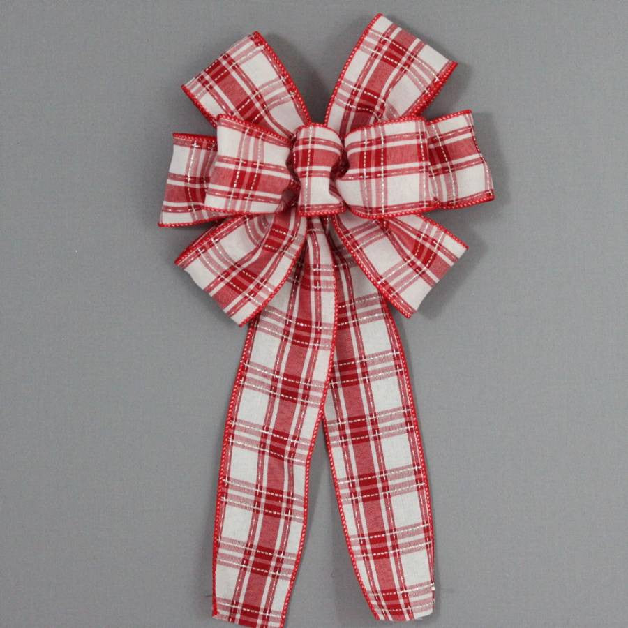 Red White Plaid Christmas Bow - Package Perfect Bows - 2