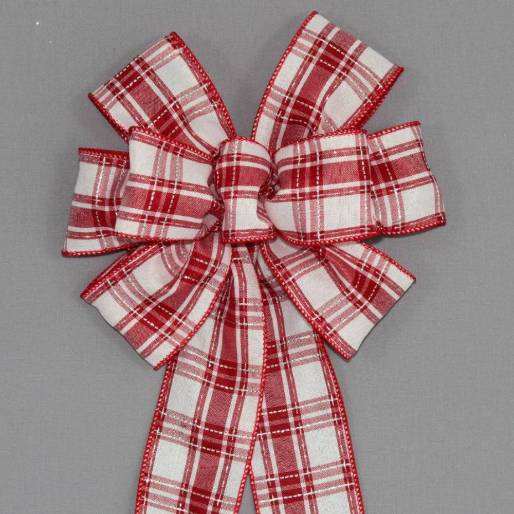 Red White Plaid Christmas Bow - Package Perfect Bows - 1