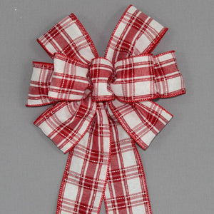 Red White Plaid Christmas Bow - Package Perfect Bows
