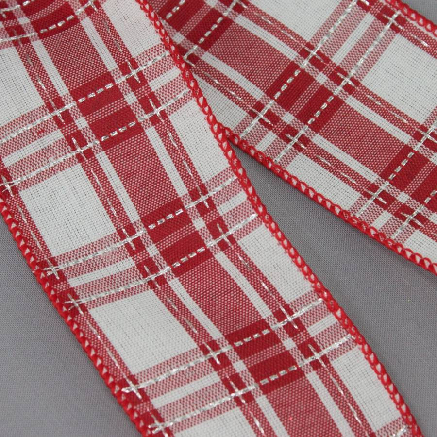 Red White Plaid Christmas Bow - Package Perfect Bows - 3