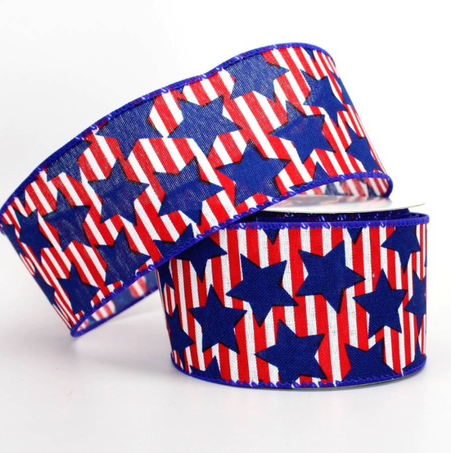 "2.5"" Red Stripe Star Patriotic Wire Edge Ribbon - Package Perfect Bows"