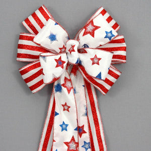 Patriotic Glitter Stars and Stripes Bow - Package Perfect Bows - 1