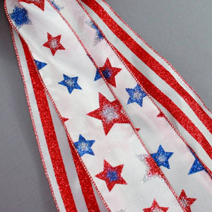 Patriotic Glitter Stars and Stripes Bow - Package Perfect Bows - 3
