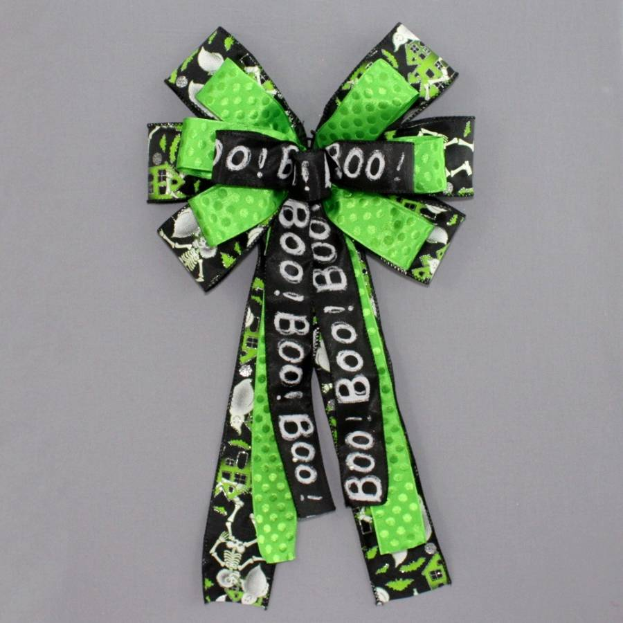 Boo Ghost Skeleton Spooky Halloween Bow - Package Perfect Bows
