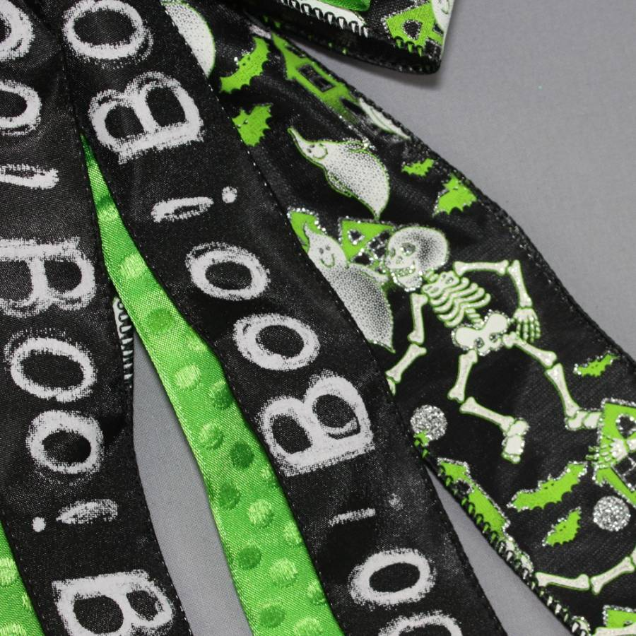 Boo Ghost Skeleton Spooky Halloween Bow