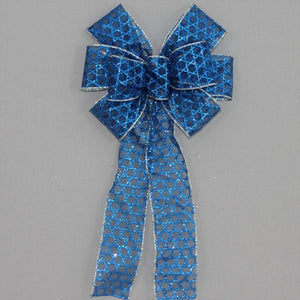 Royal Blue Star of David Hanukkah Bow - Package Perfect Bows