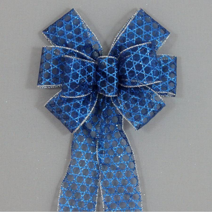 Royal Blue Star of David Hanukkah Bow - Package Perfect Bows - 1