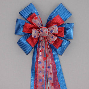 Red Royal Glitter Stars Patriotic Bow - Package Perfect Bows