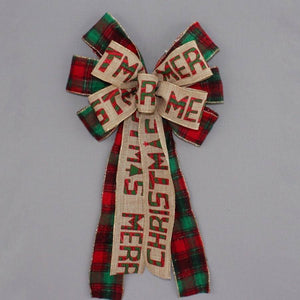 Merry Christmas Flannel Plaid Wreath Bow - Package Perfect Bows