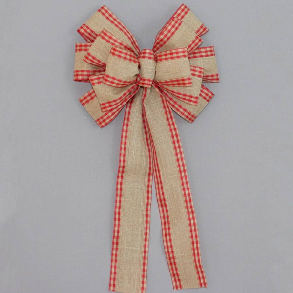 Red Check Natural Rustic Christmas Bows - Package Perfect Bows - 1