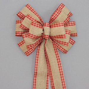 Red Check Natural Rustic Christmas Bows - Package Perfect Bows