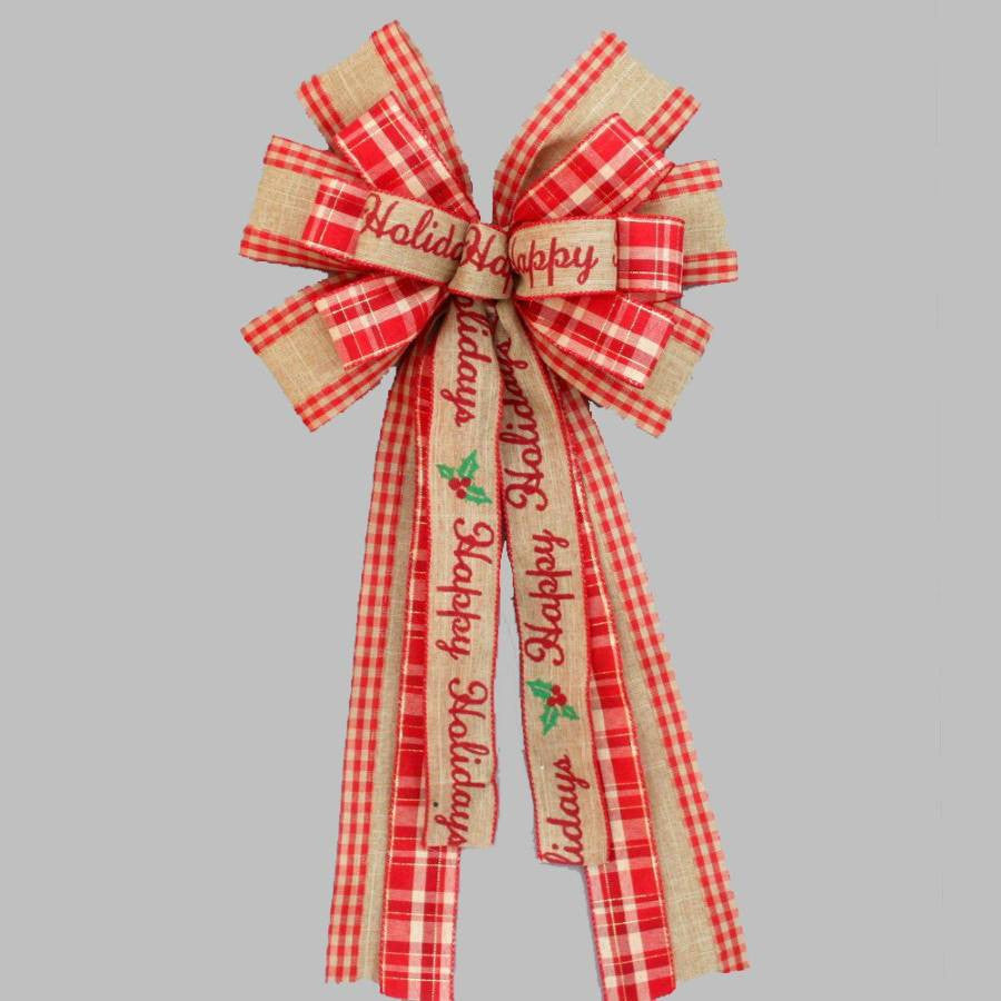 Happy Holidays Rustic Burlap Christmas Bow - Package Perfect Bows - 2