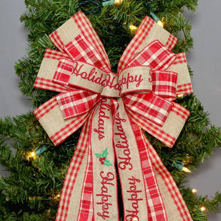 Happy Holidays Rustic Burlap Christmas Bow - Package Perfect Bows - 5