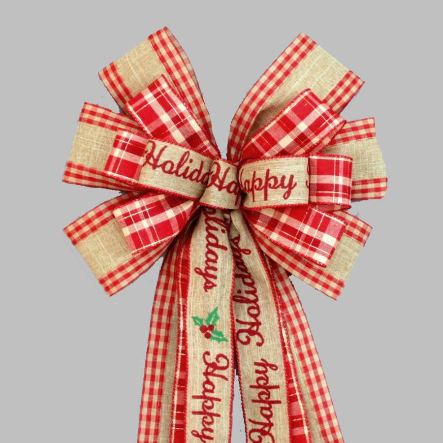 Happy Holidays Rustic Burlap Christmas Bow - Package Perfect Bows - 1