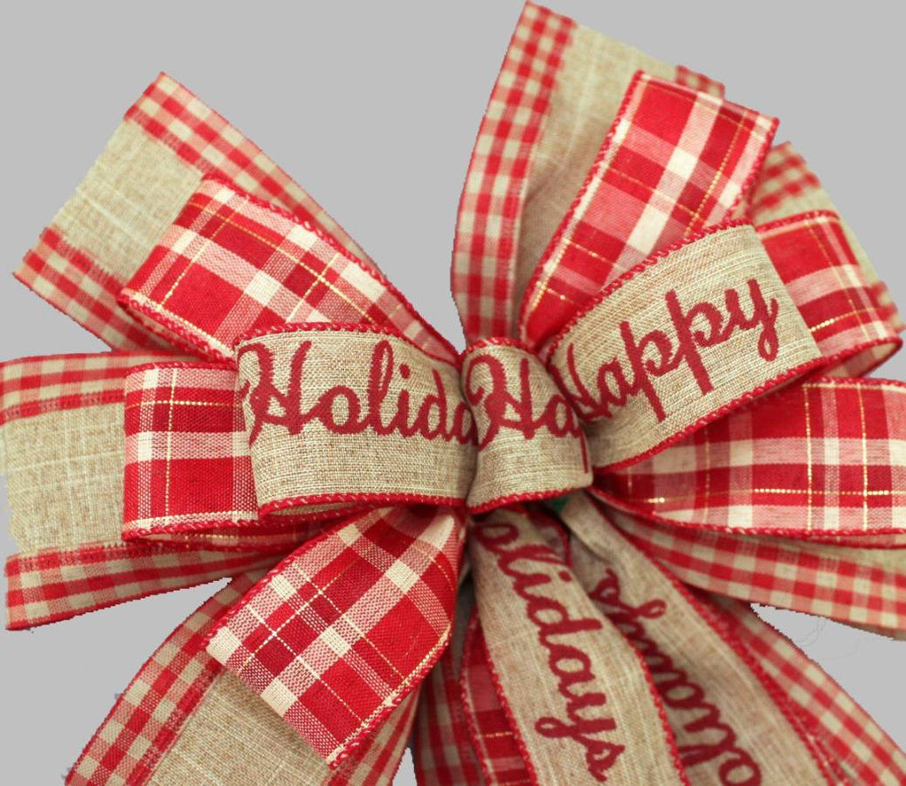 Happy Holidays Rustic Burlap Christmas Bow - Package Perfect Bows - 3