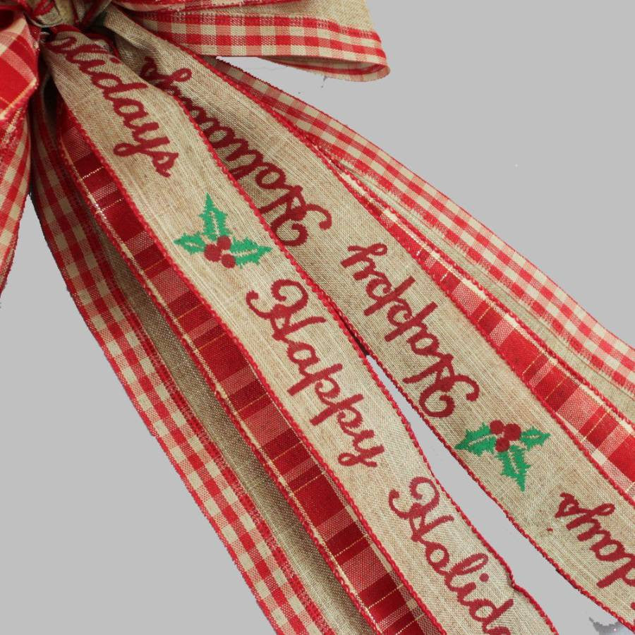 Wonderful Happy Holidays Rustic Burlap Christmas Wreath Bow - 10