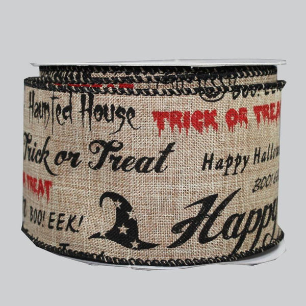 "2.5"" Scripted Haunted Halloween Linen Wire Edge Ribbon (10 Yards) - Package Perfect Bows - 1"