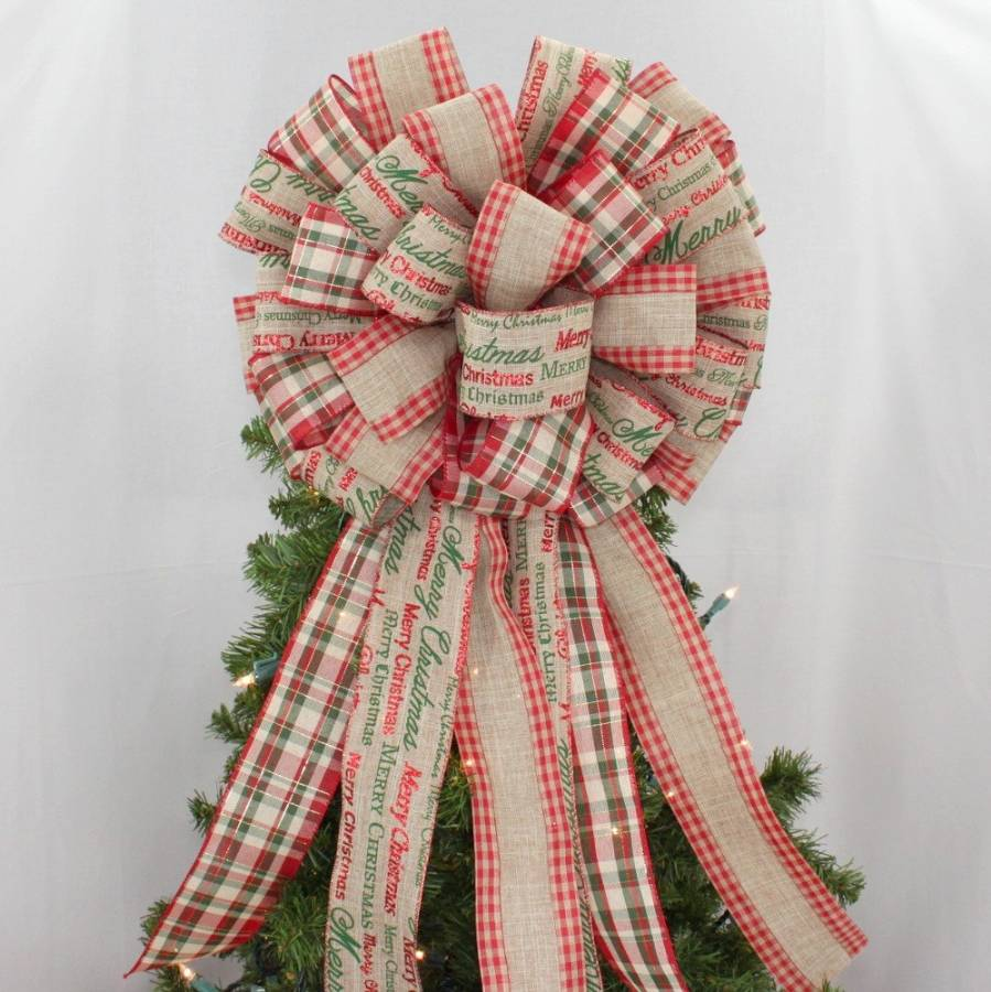 Merry Christmas Script Plaid Tree Bow Topper