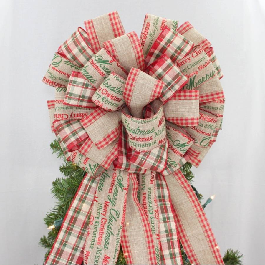 merry christmas script plaid tree bow topper 14 wide. Black Bedroom Furniture Sets. Home Design Ideas