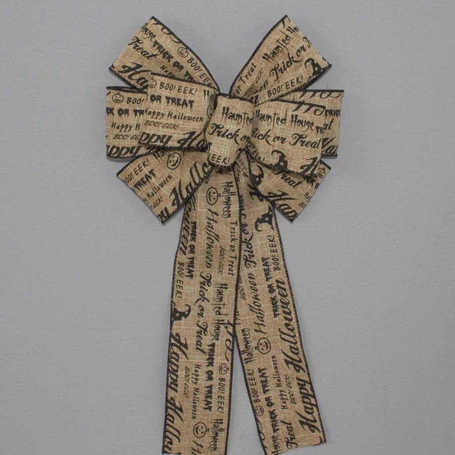 Rustic Halloween Fall Script Wreath Bow - Package Perfect Bows