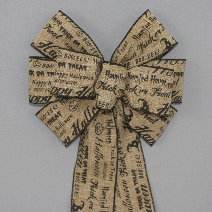 Rustic Halloween Fall Script Wreath Bow - Package Perfect Bows - 1