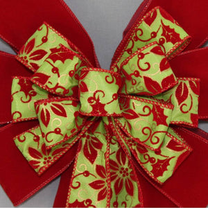 Poinsettia Lime Scarlet Velvet Christmas Bow - Package Perfect Bows