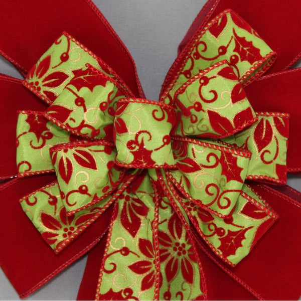 Poinsettia Lime Scarlet Velvet Christmas Bow - Package Perfect Bows - 1